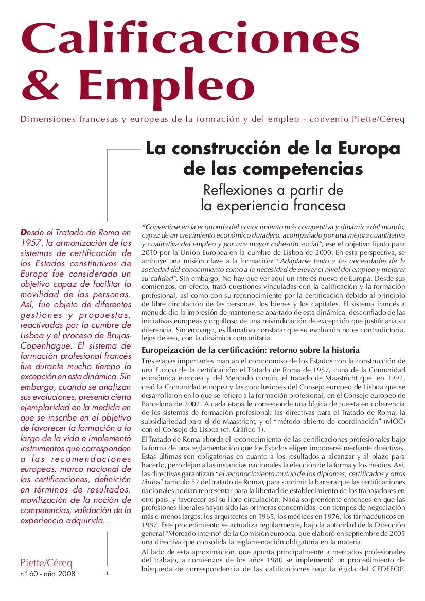 Calificaciones y Empleo (no. 60 2008)