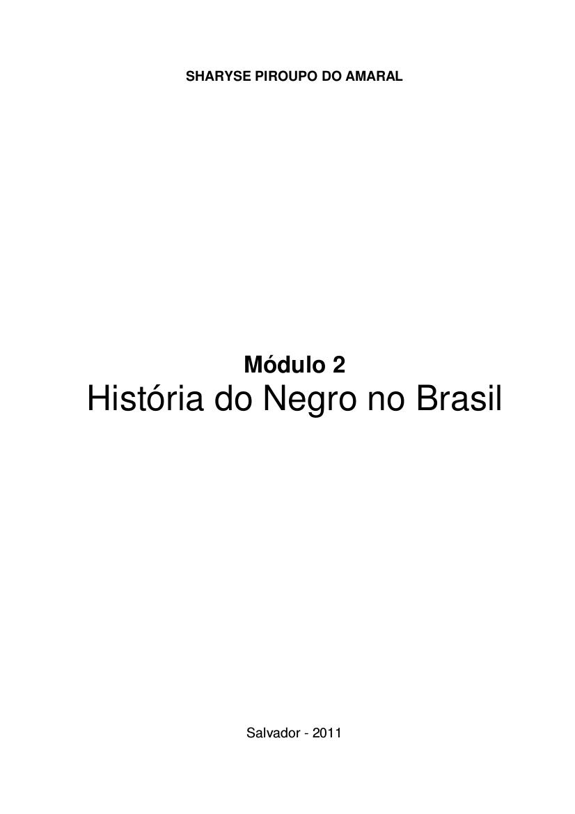 História do negro no Brasil : módulo 2