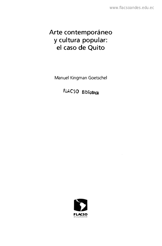 Arte contemporáneo y cultura popular : el caso de Quito