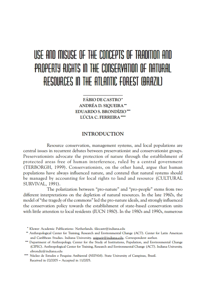 Use and misuse of the concepts of tradition and property rights in the conservation of natural resources in the Atlantic forest (Brazil)