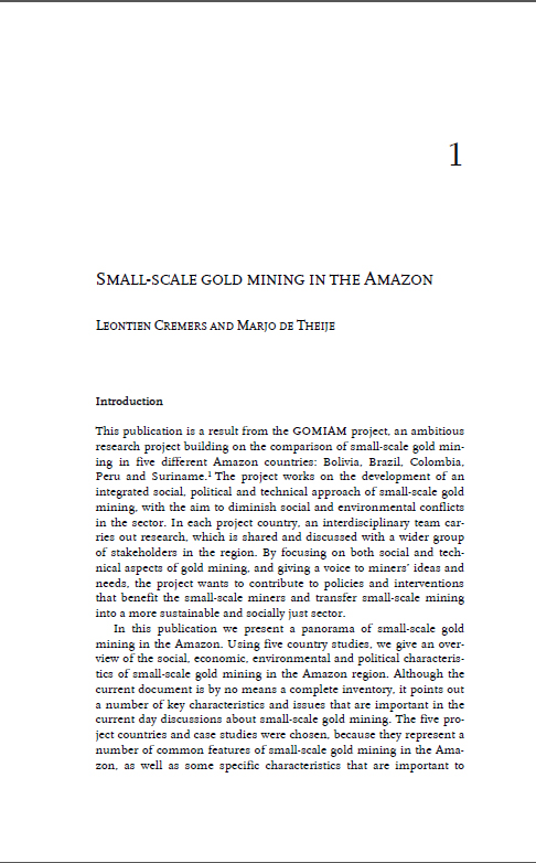 Small-scale gold mining in the Amazon